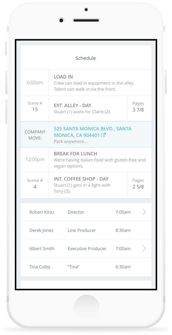 Call Sheet Schedule on Mobile Device | StudioBinder