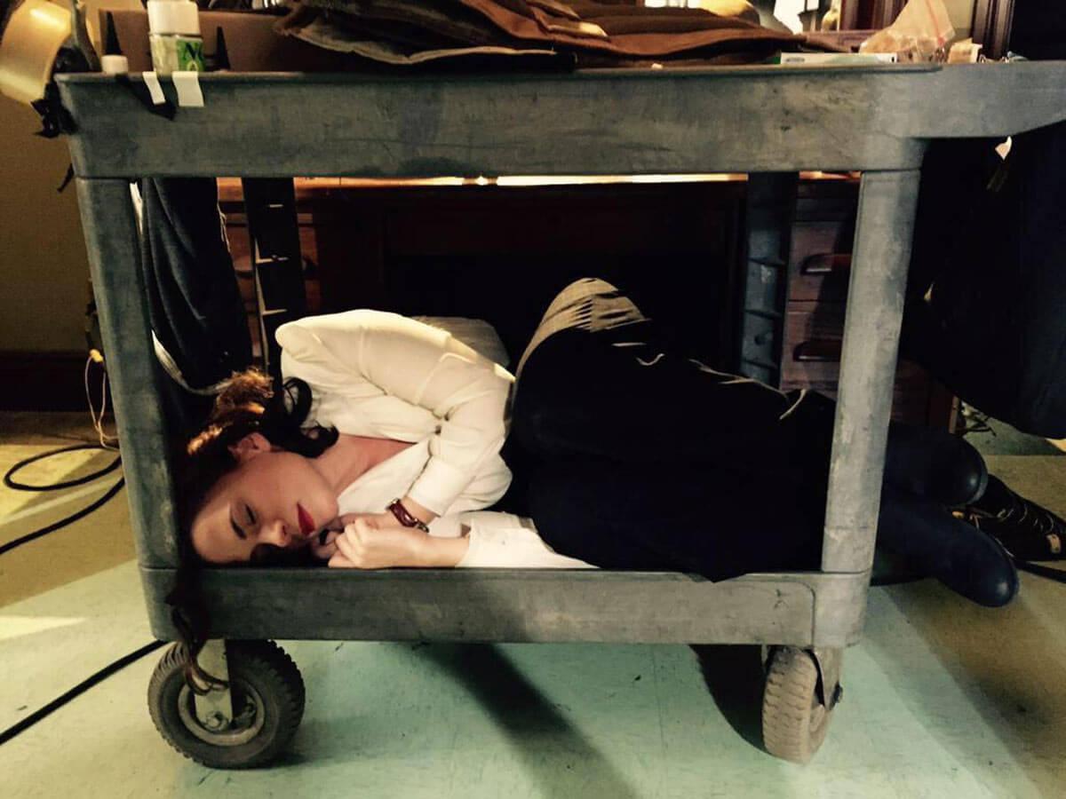 Night shoots Actors sleeping