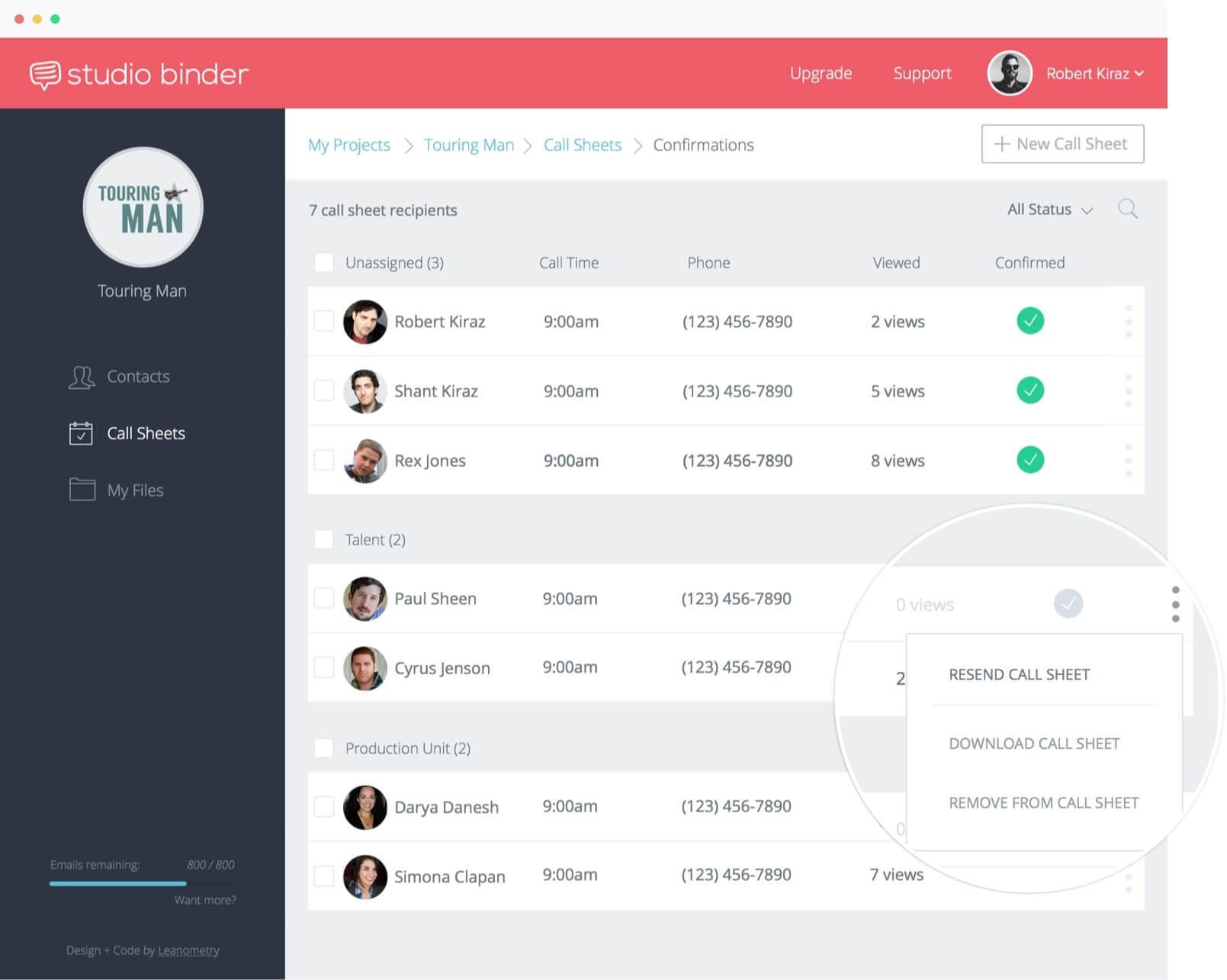 Monitor Call Sheet Views and Confirmations | StudioBinder
