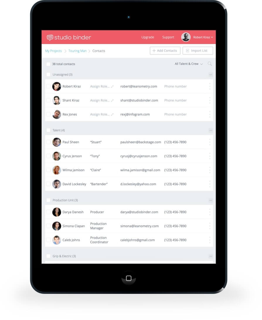 Filmmaking Software - Create Cast List and Crew List Names - StudioBinder on the iPad