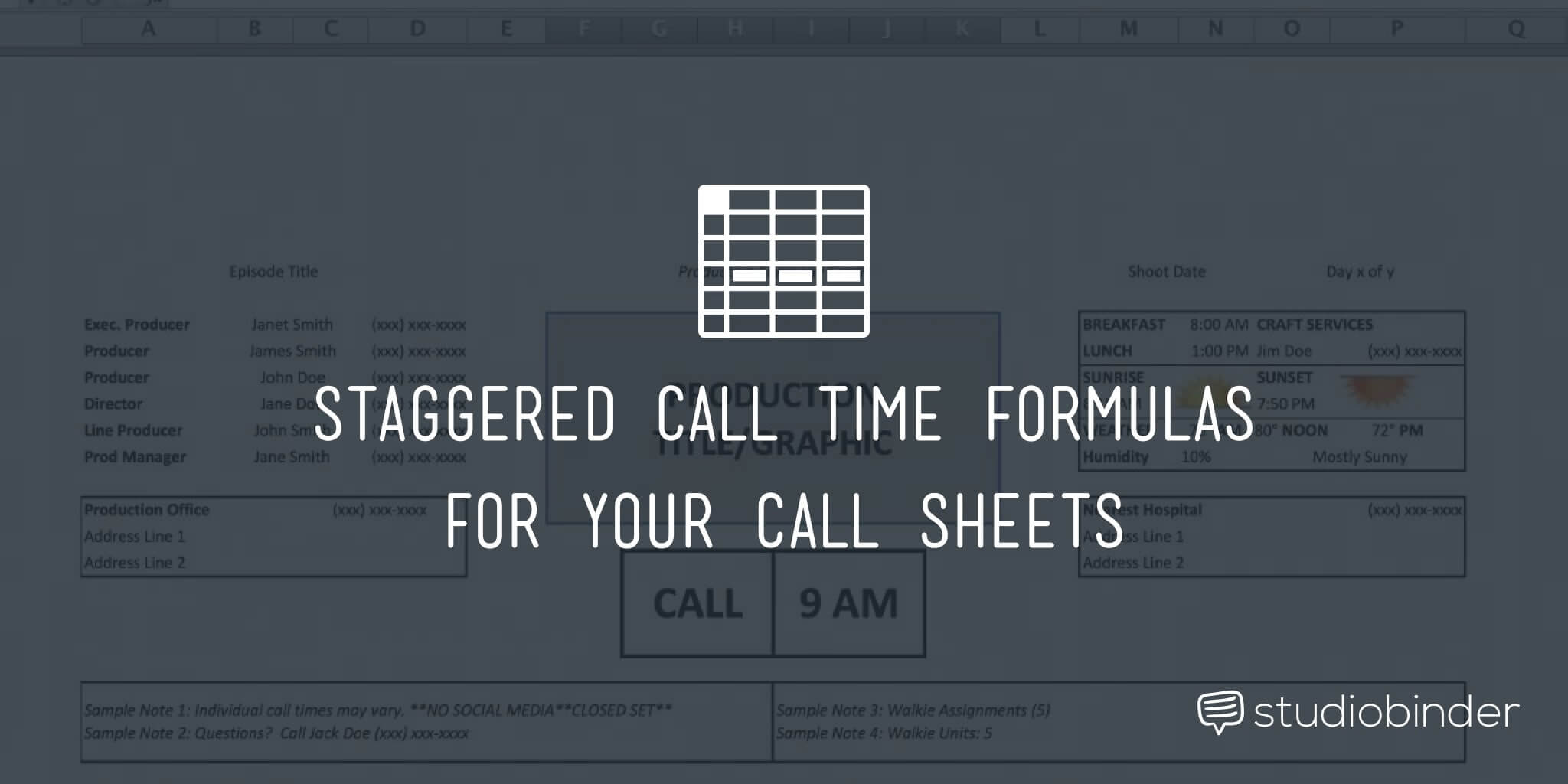 Call Time Formulas for Your Next Call Sheet
