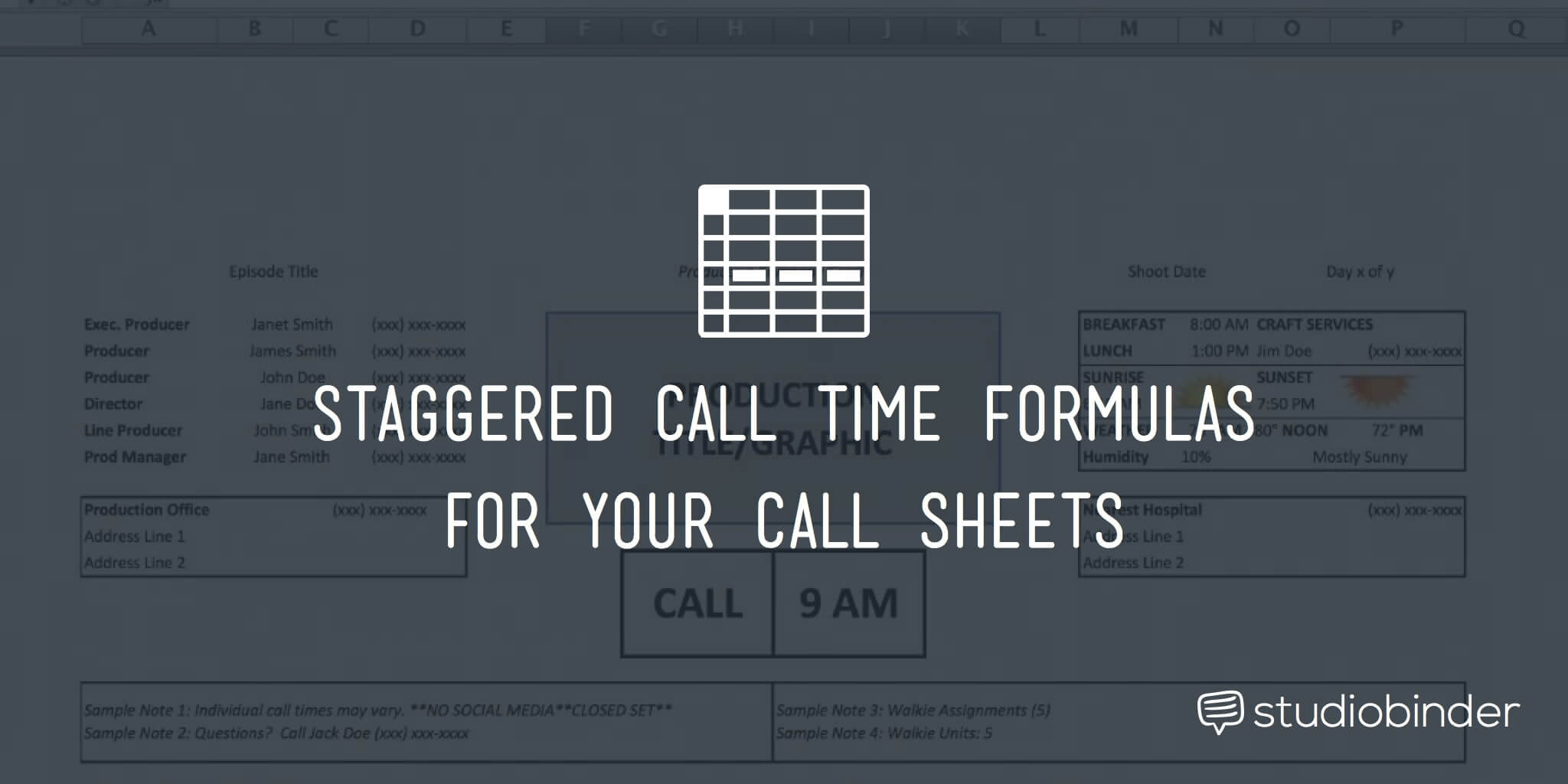 Call Time Formulas for Call Sheets
