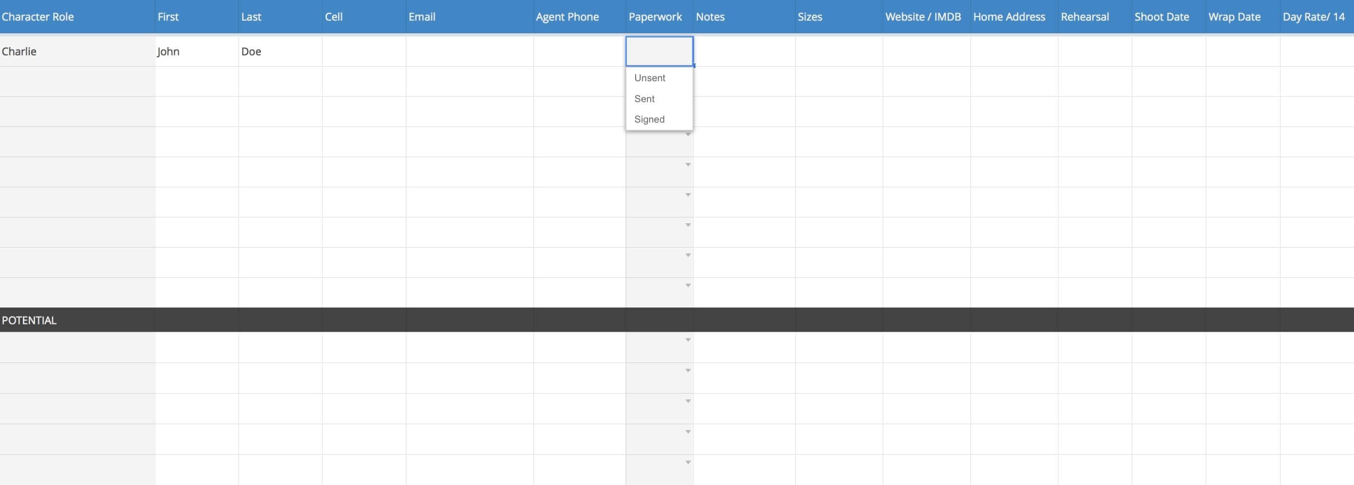 Cast List Template - StudioBinder