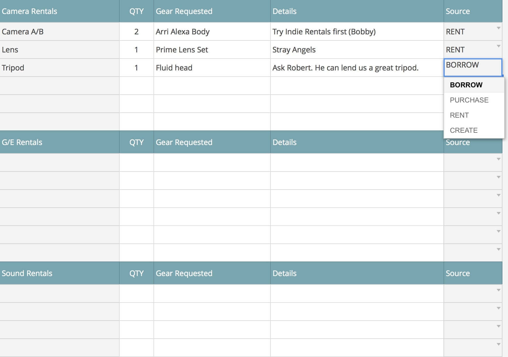 Rental and Vendors List Template - StudioBinder