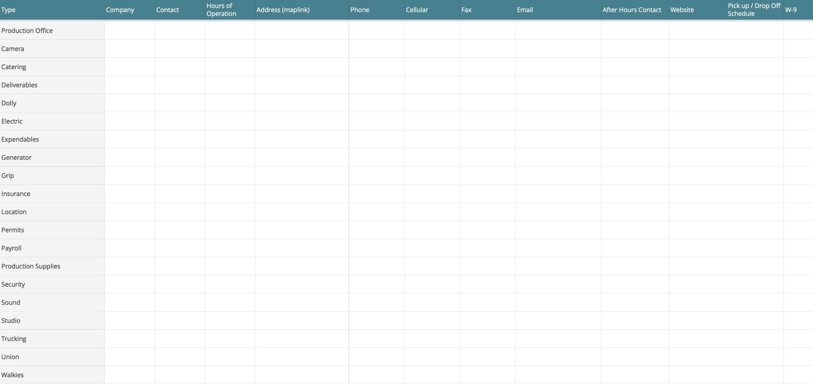 Vendor List Template - StudioBinder