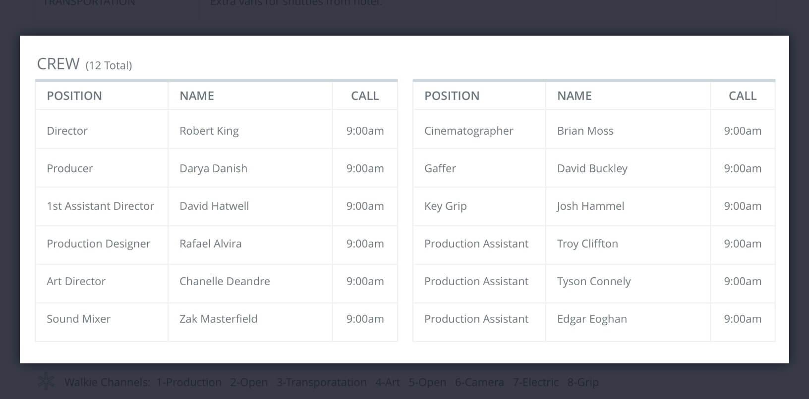 Callsheet Template Anatomy   Crew List   StudioBinder  Call Sheet Template Word