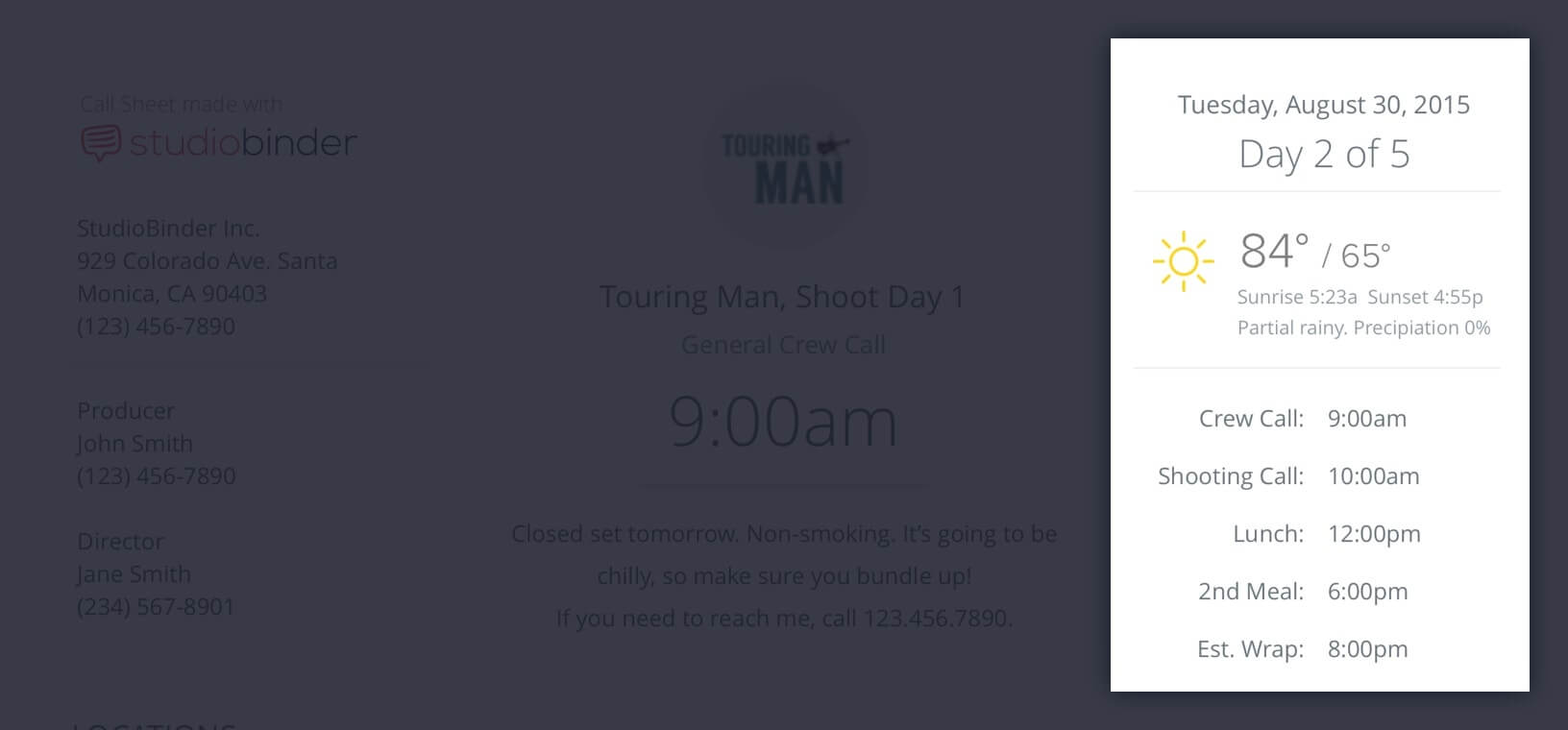 Callsheet Template Anatomy - Day of Days - Weather - Schedule - StudioBinder