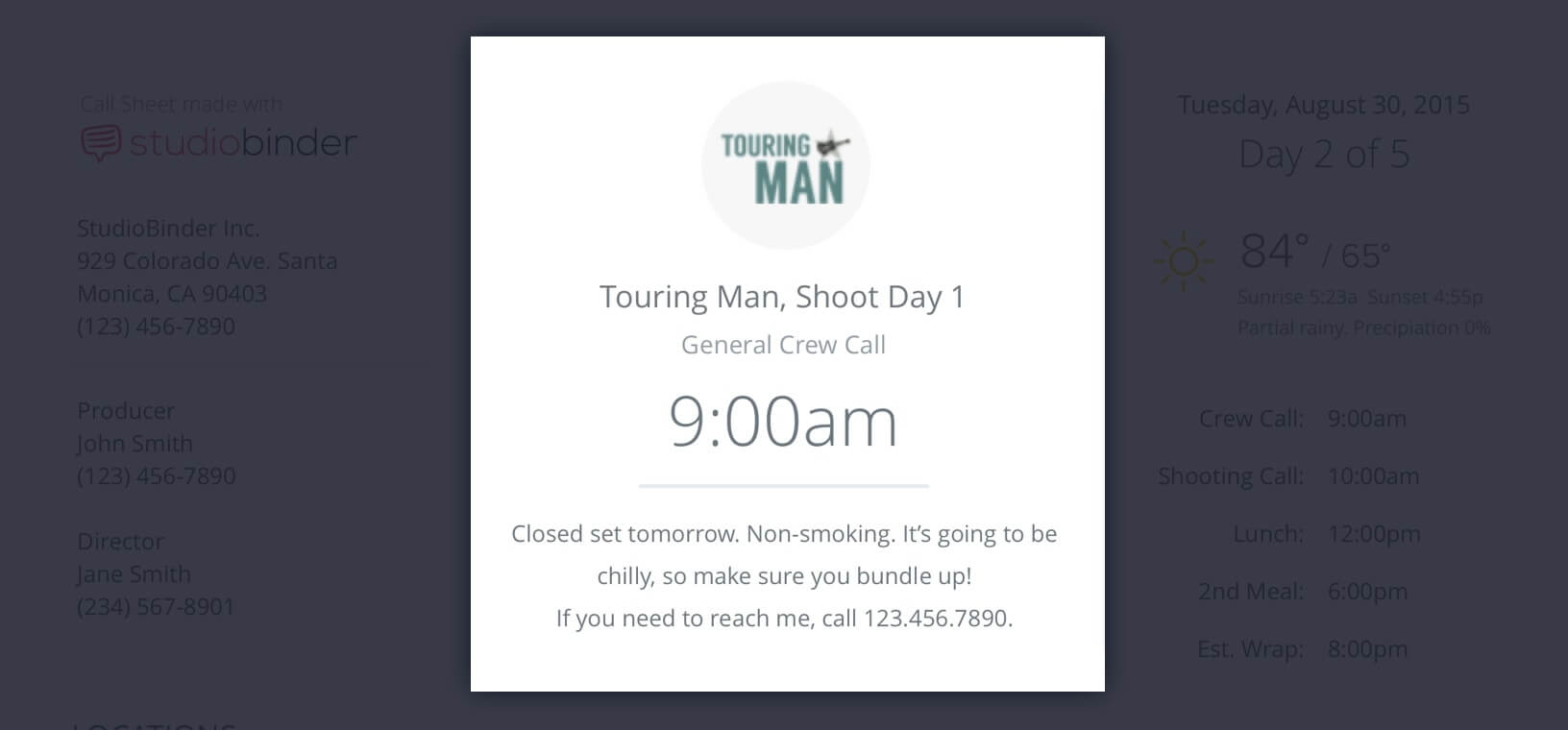 Callsheet Template Anatomy - Project Title and General Crew Call Time - StudioBinder