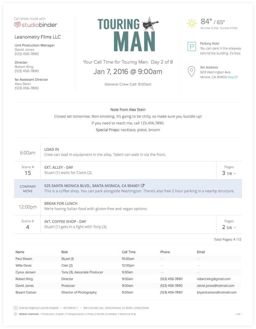 Filmmaking Software - Call Sheet Template Basic - StudioBinder