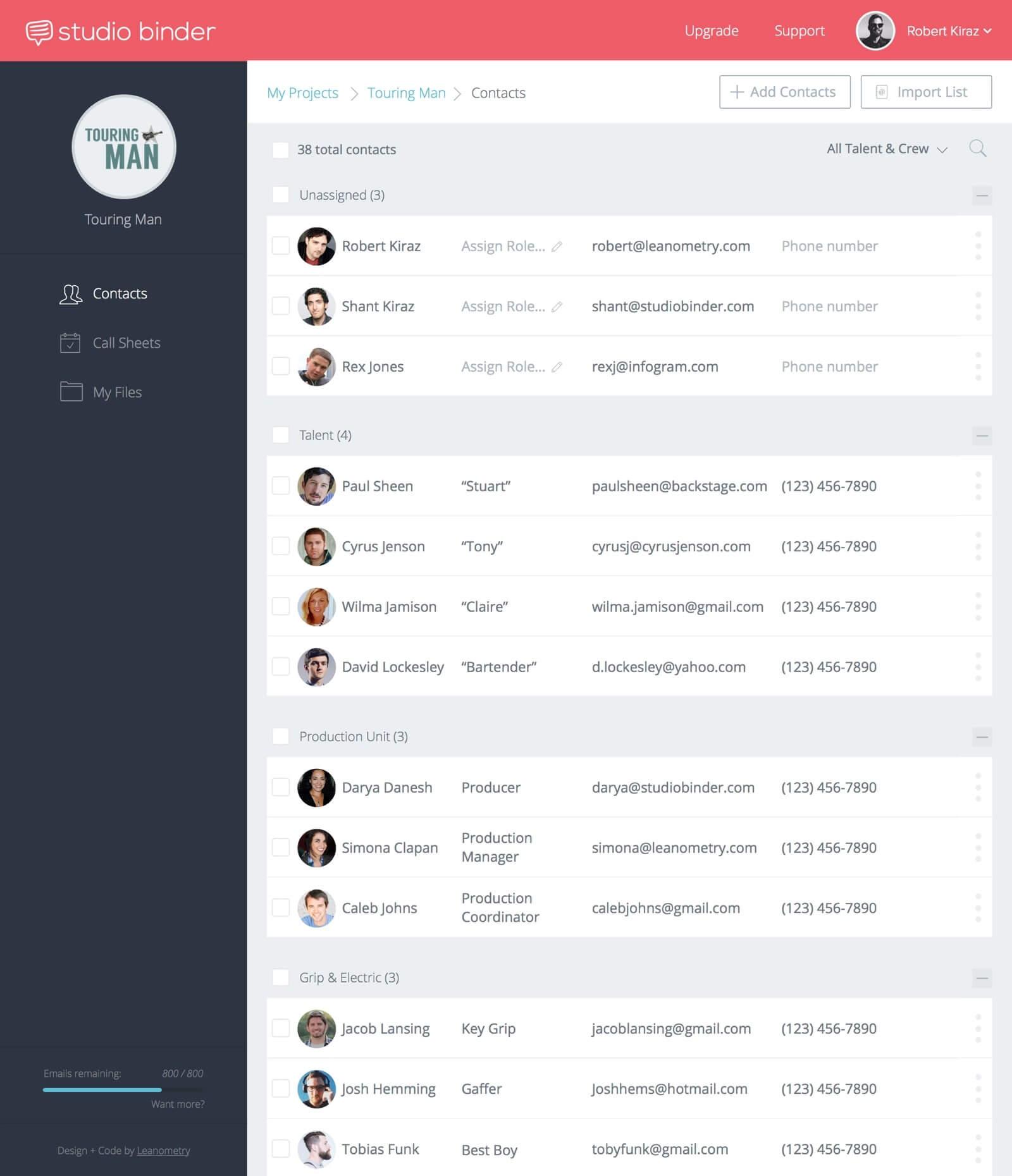Filmmaking Software - Call Sheet Template Contacts - StudioBinder