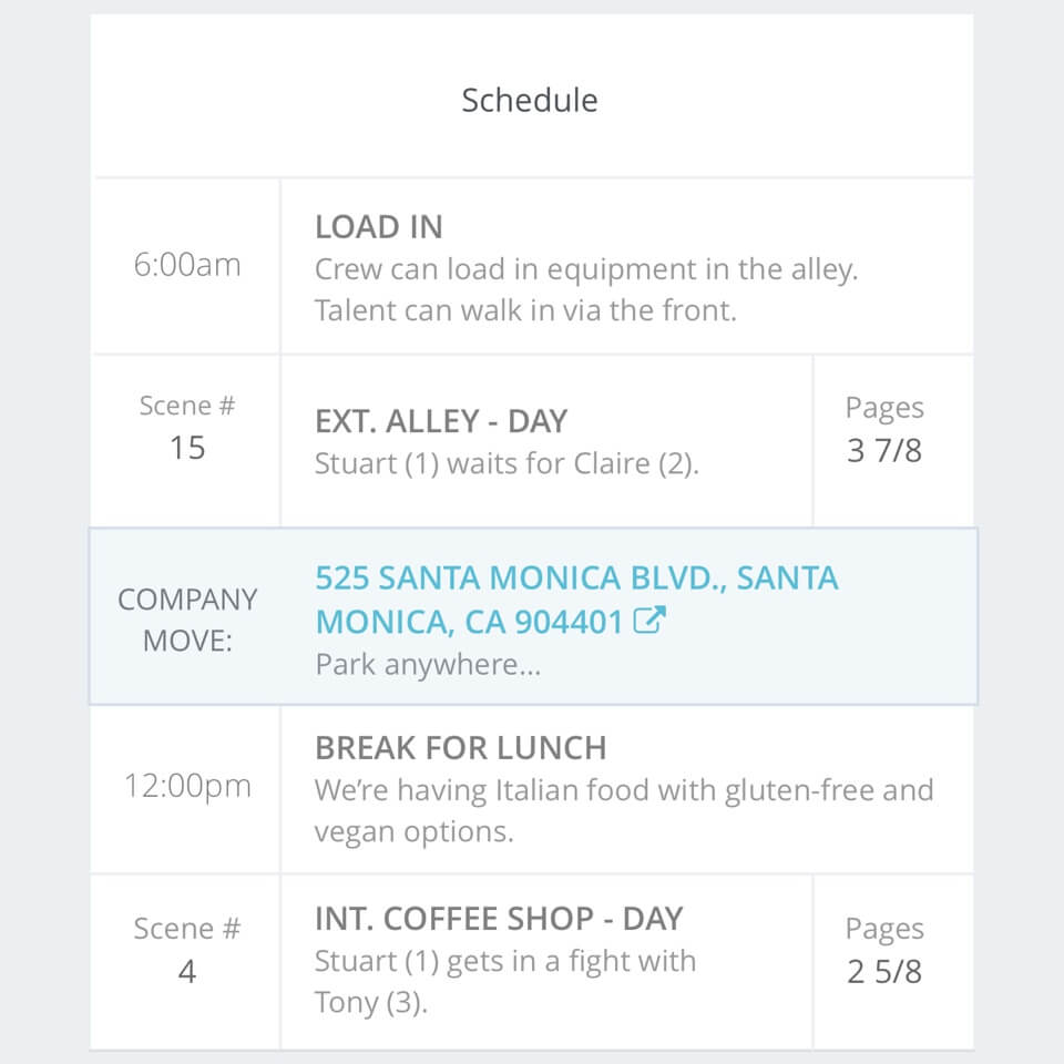Daily Call Sheet Template |  StudioBinder adds schedule and scene details