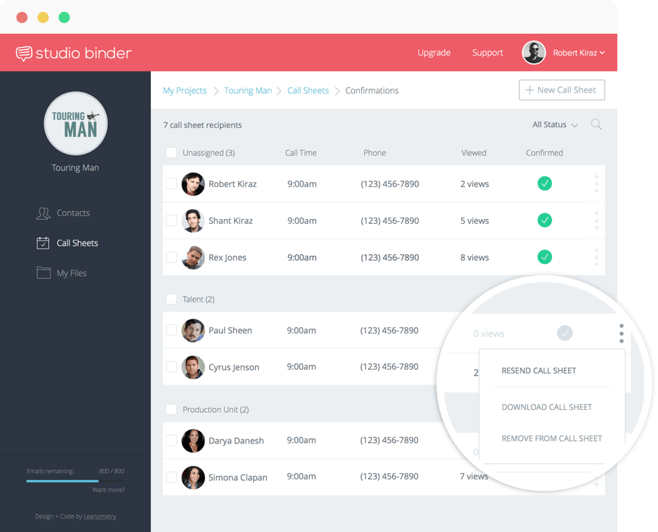 Daily Call Sheet Template |  StudioBinder tracks call sheet confirmations and read receipts