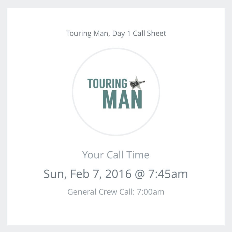 Film Call Sheet Template App with personalized call times