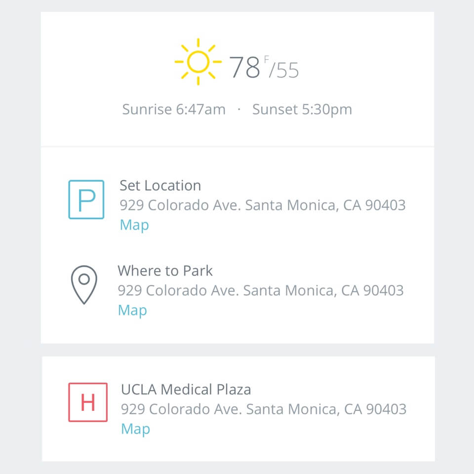 StudioBinder Call Sheet Example   |  Auto-generated weather, map links and hospitals