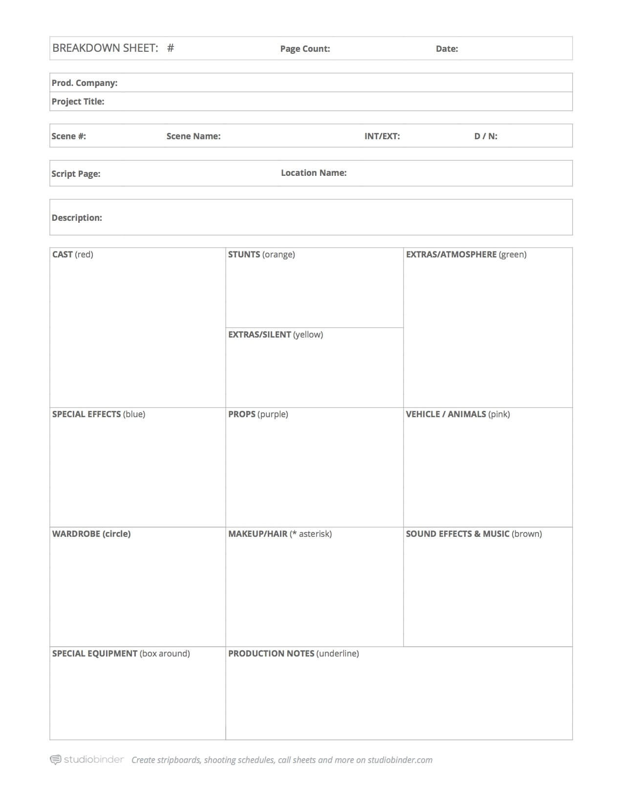Script Breakdown Template – Breakdown Sheet – StudioBinder