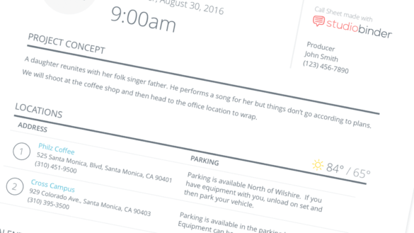 The Anatomy of a Callsheet - How to Make a Call Sheet for Film - Header Image - StudioBinder