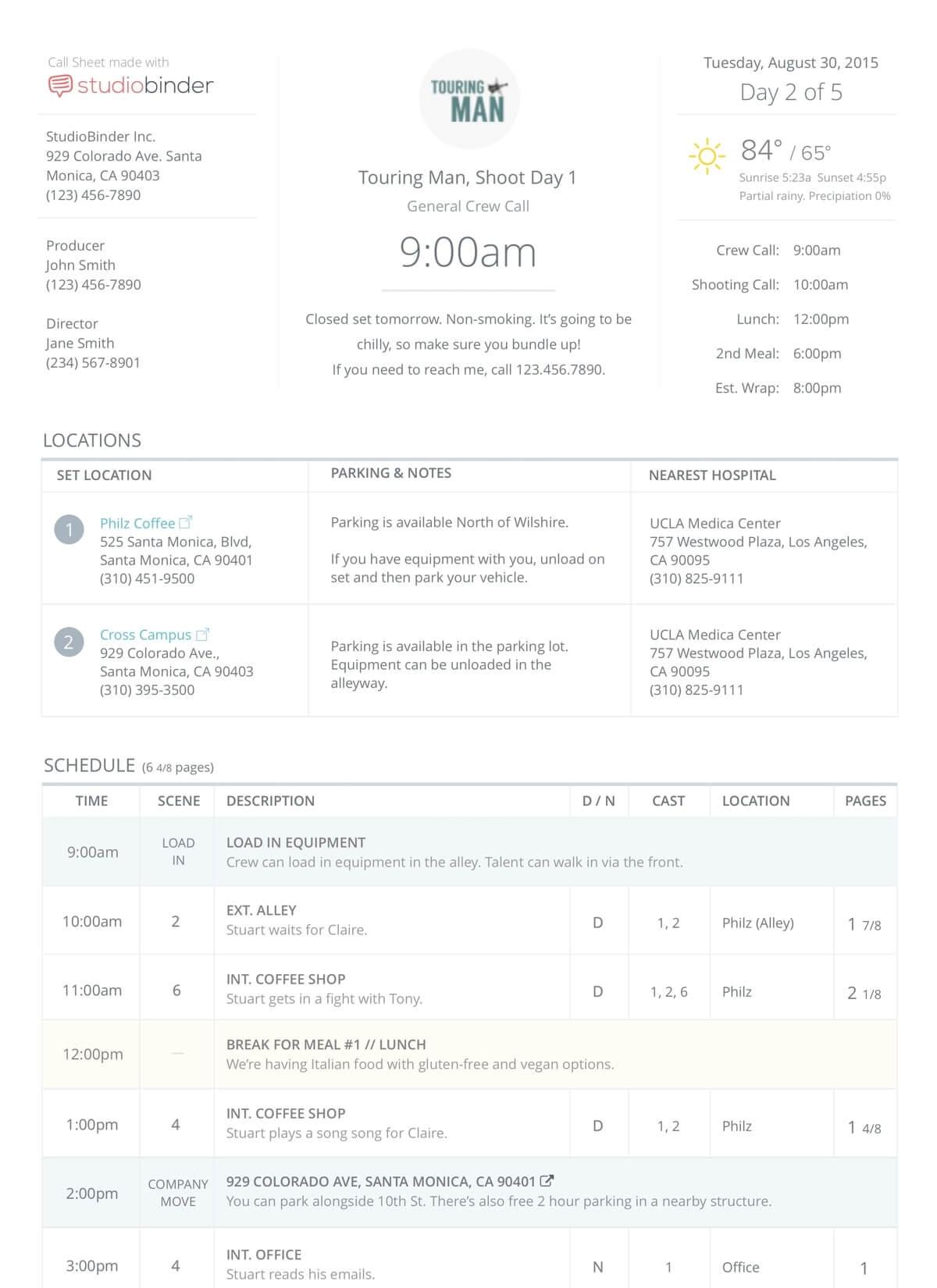 StudioBinder Call Sheet Templates and Samples