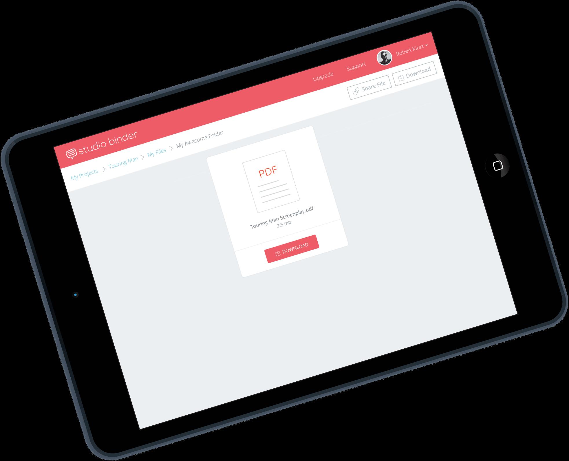 Film and TV Production Management Software - Online File Sharing iPad Tablet - StudioBinder - mobile-min