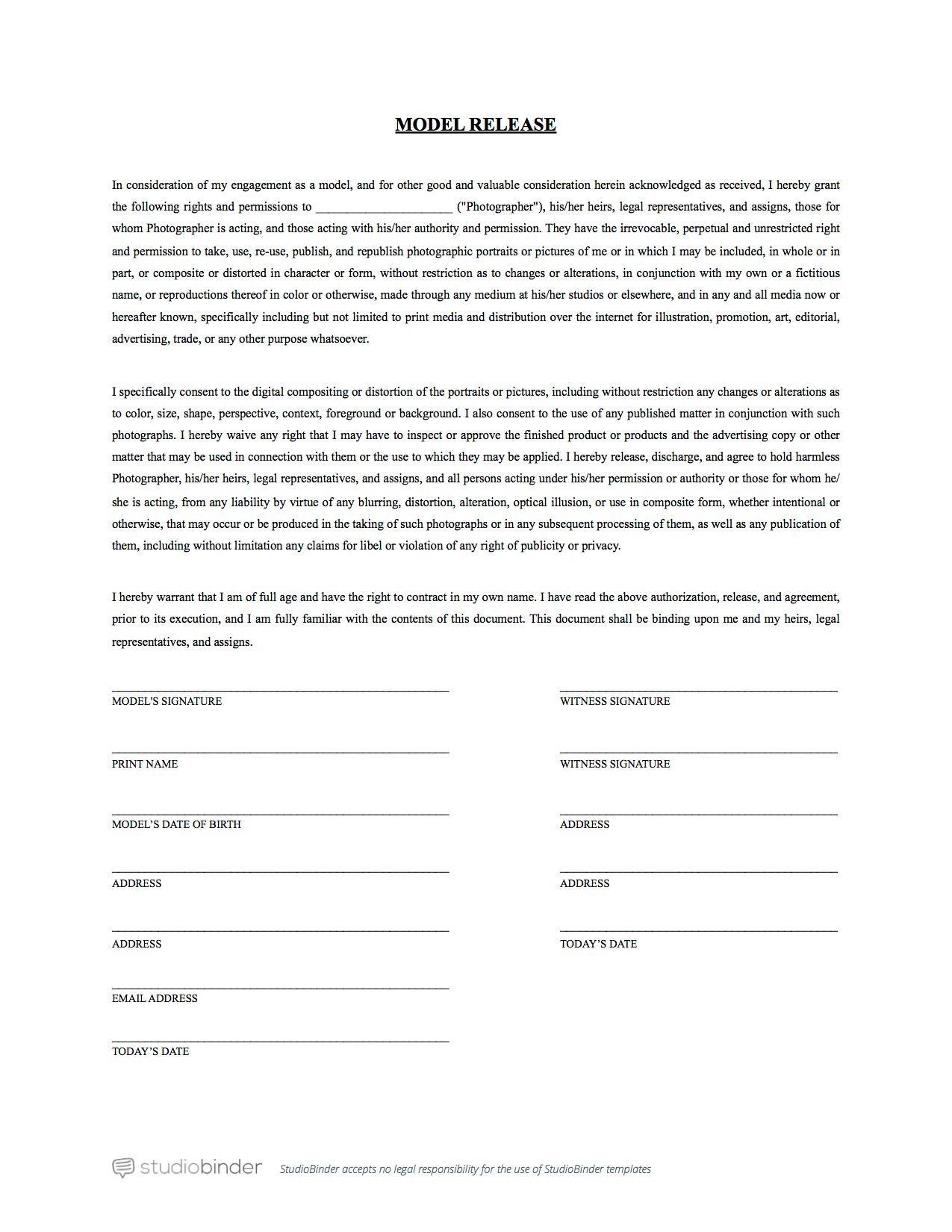 standard model release form template the best free model release form template for photography