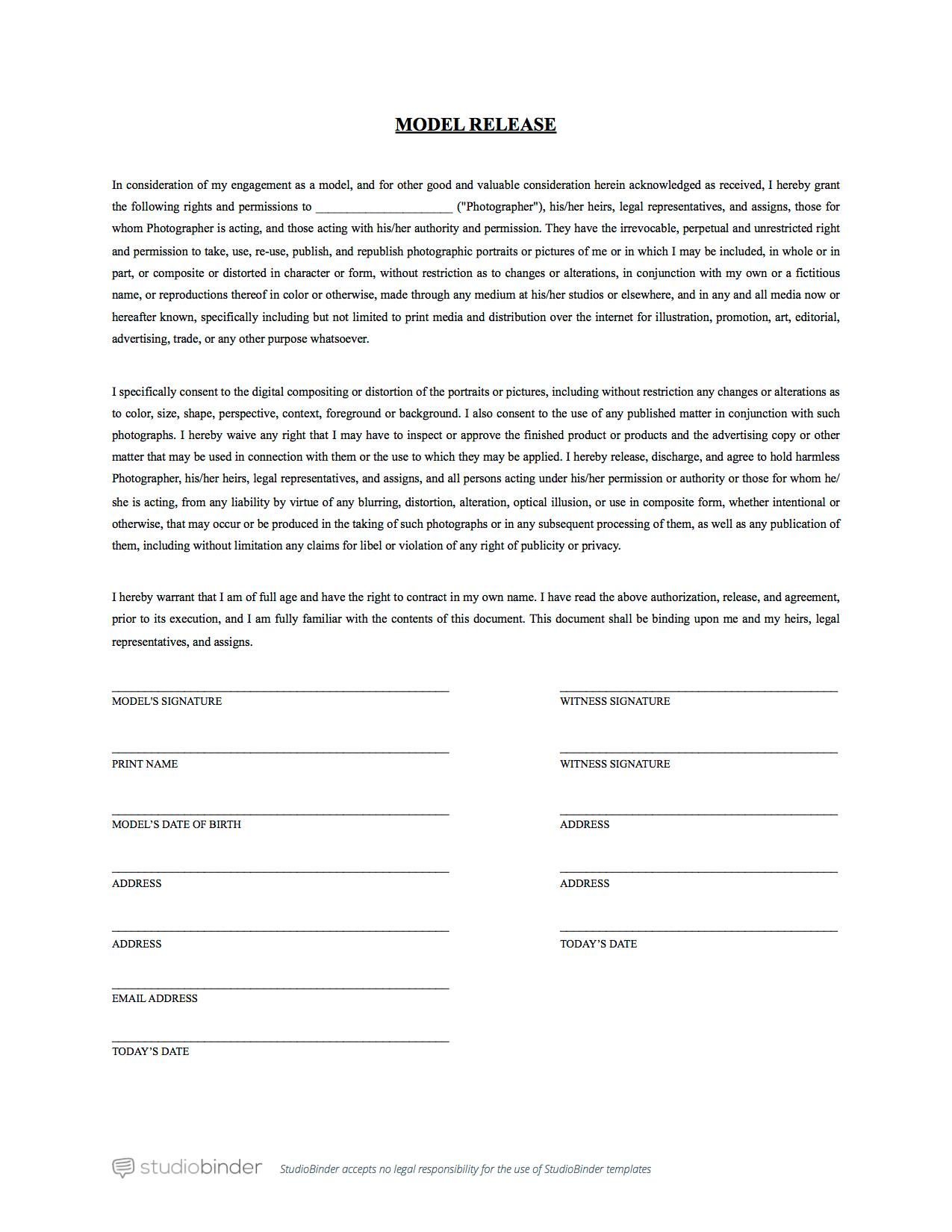 Model Release Form Template - StudioBinder