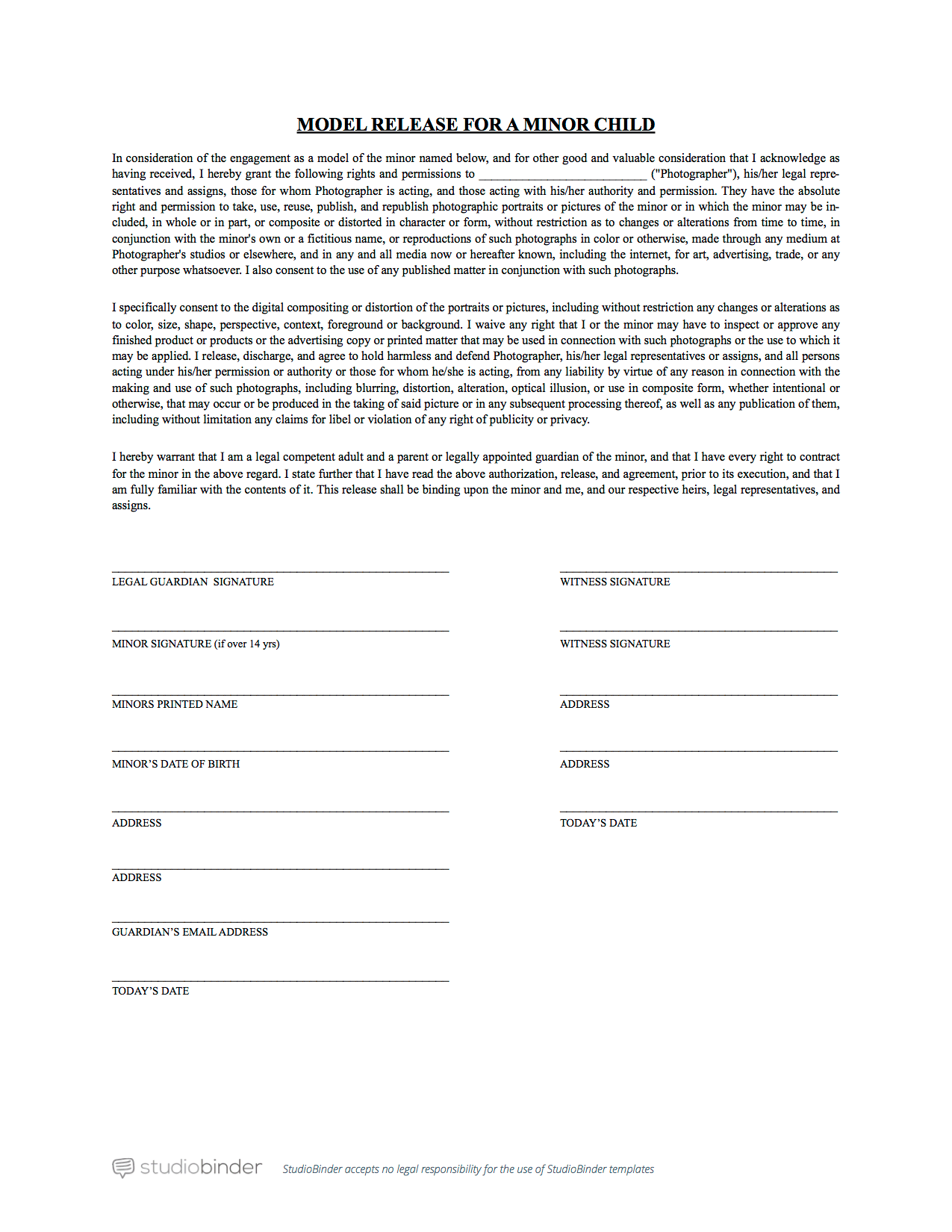 Attractive Photo Release Form For Minors Template StudioBinder