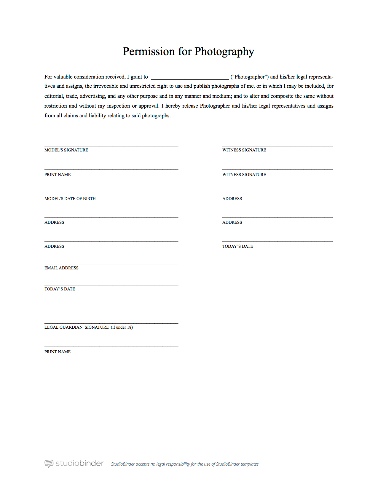 The best free model release form template for photography for Photography permission form template