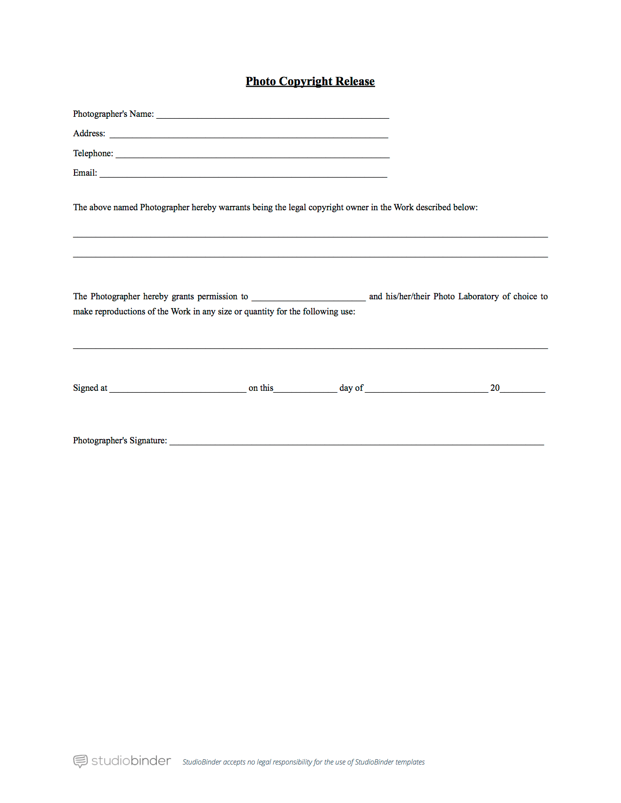 simple photography release forms