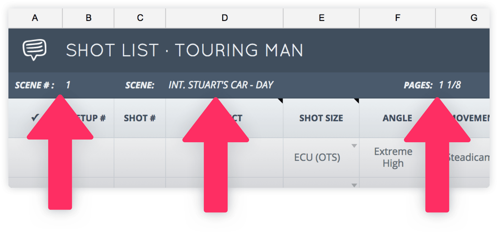 Shot List Template - Scene Details