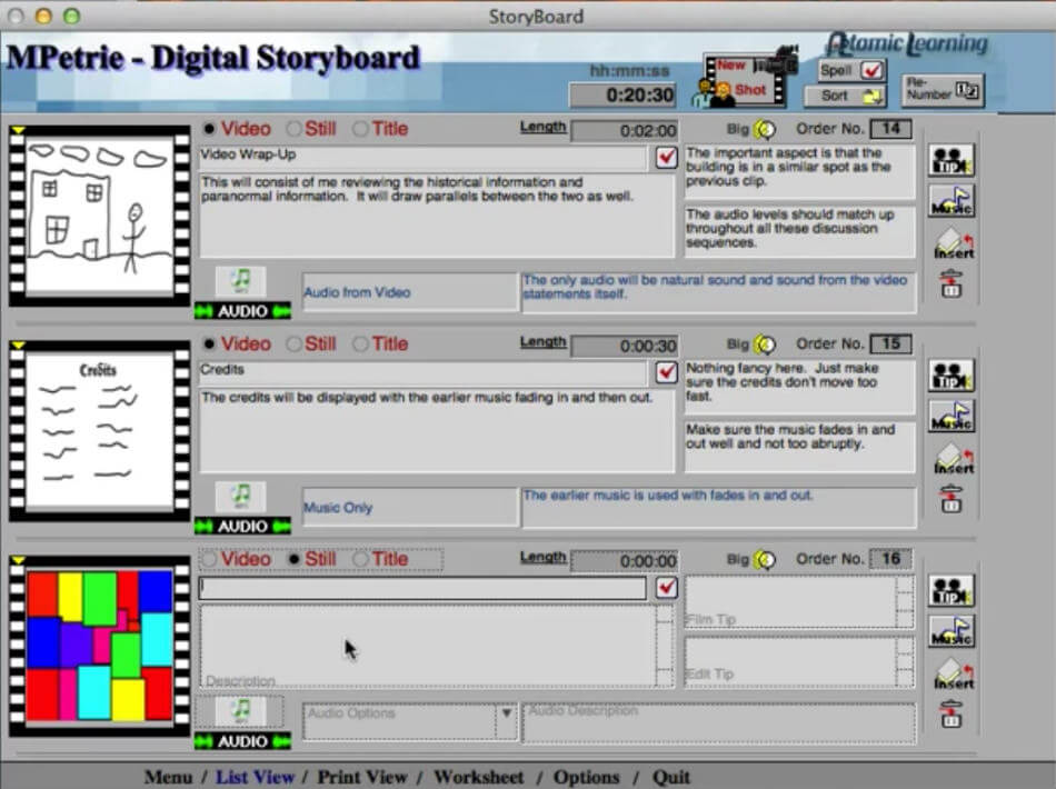 Storyboard Software-Atomic Storyboard Pro