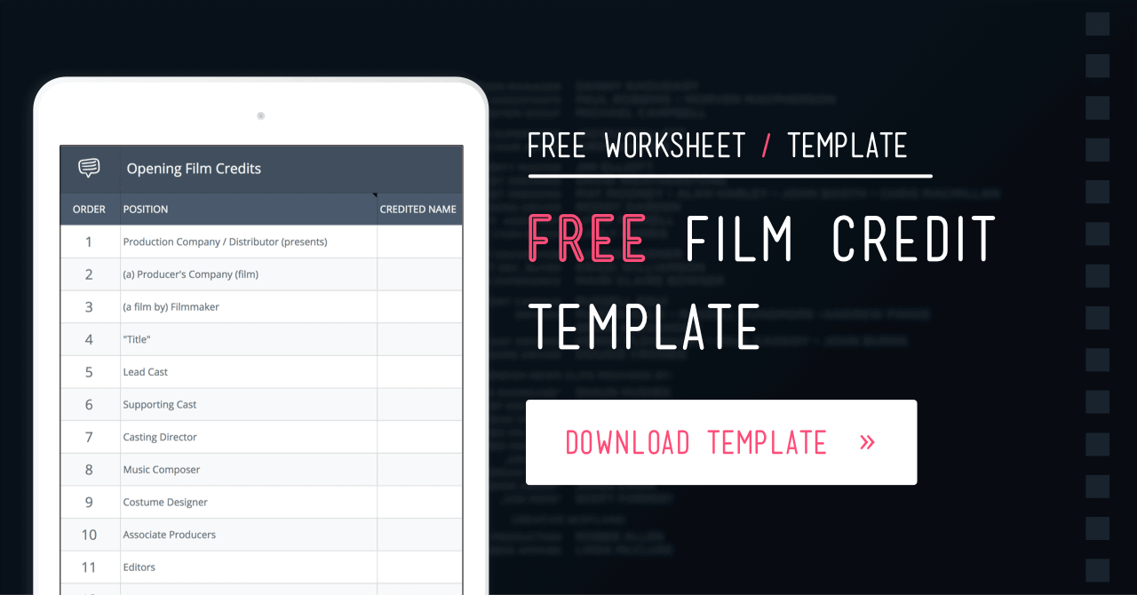 Free film credits order template and worksheet studiobinder for Movie poster credits template free