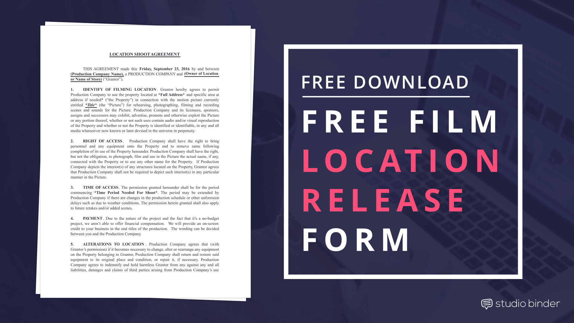 Download Film Location Release Form Template - StudioBinder