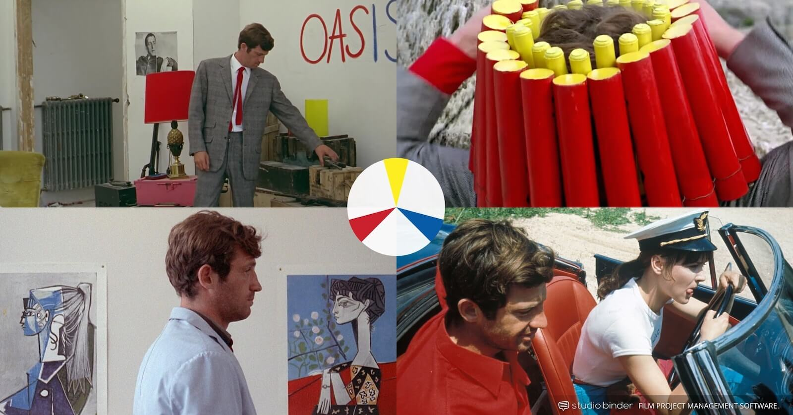 How to Use Color in Film - Example of Movie Color Palette and Schemes - Triadic Colors - Pierrot le Fou-min