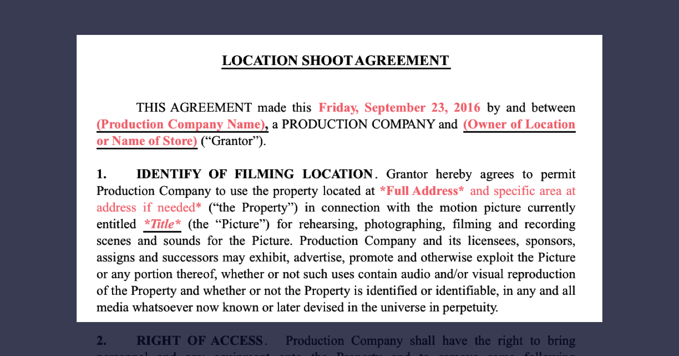 How To Secure Film Locations Free Location Release Form