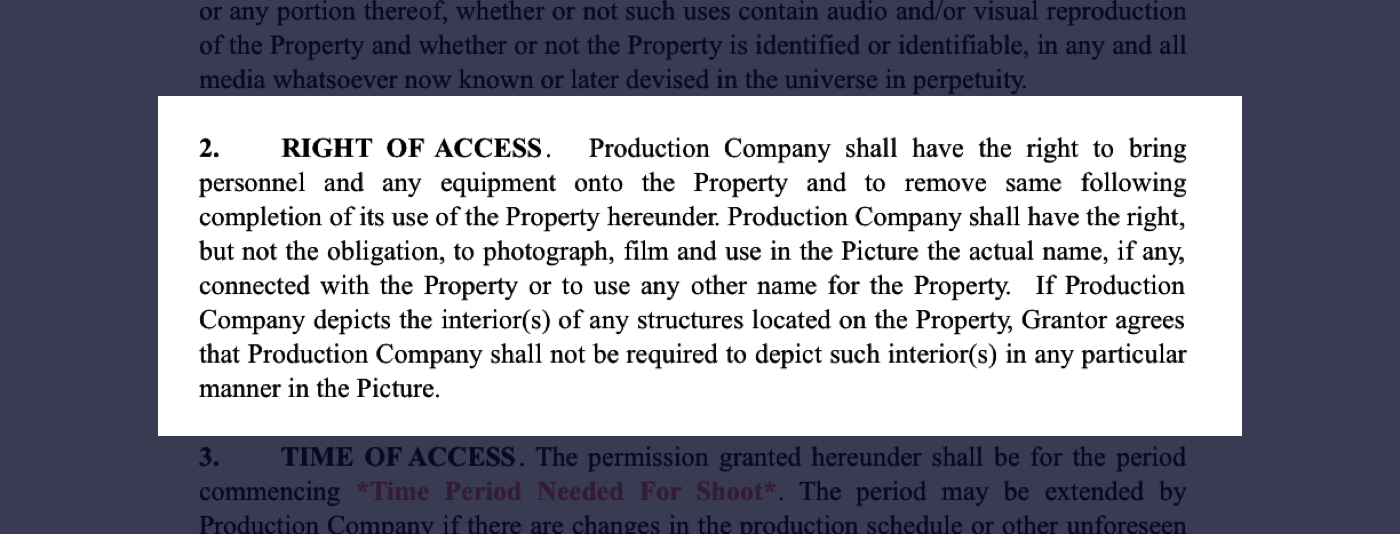 2 - Film Location Release Form Excerpt - Right of Access