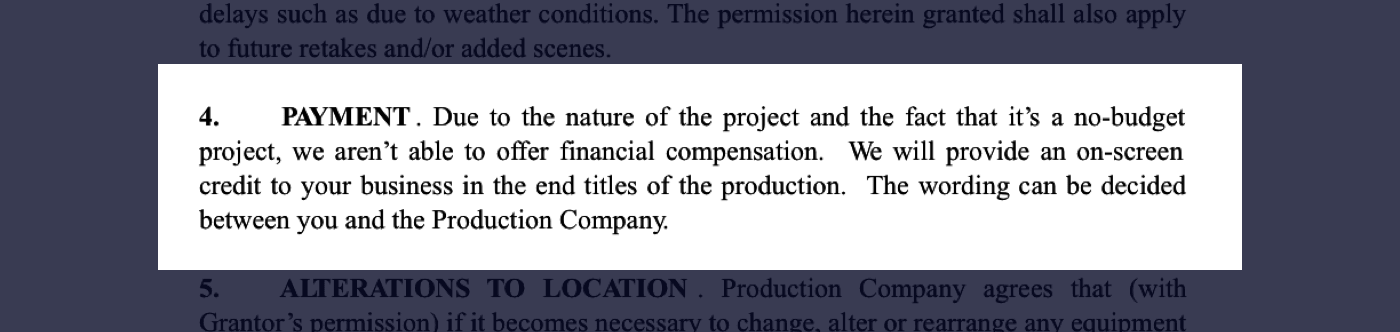 4 - Film Location Release Form Excerpt - Payment