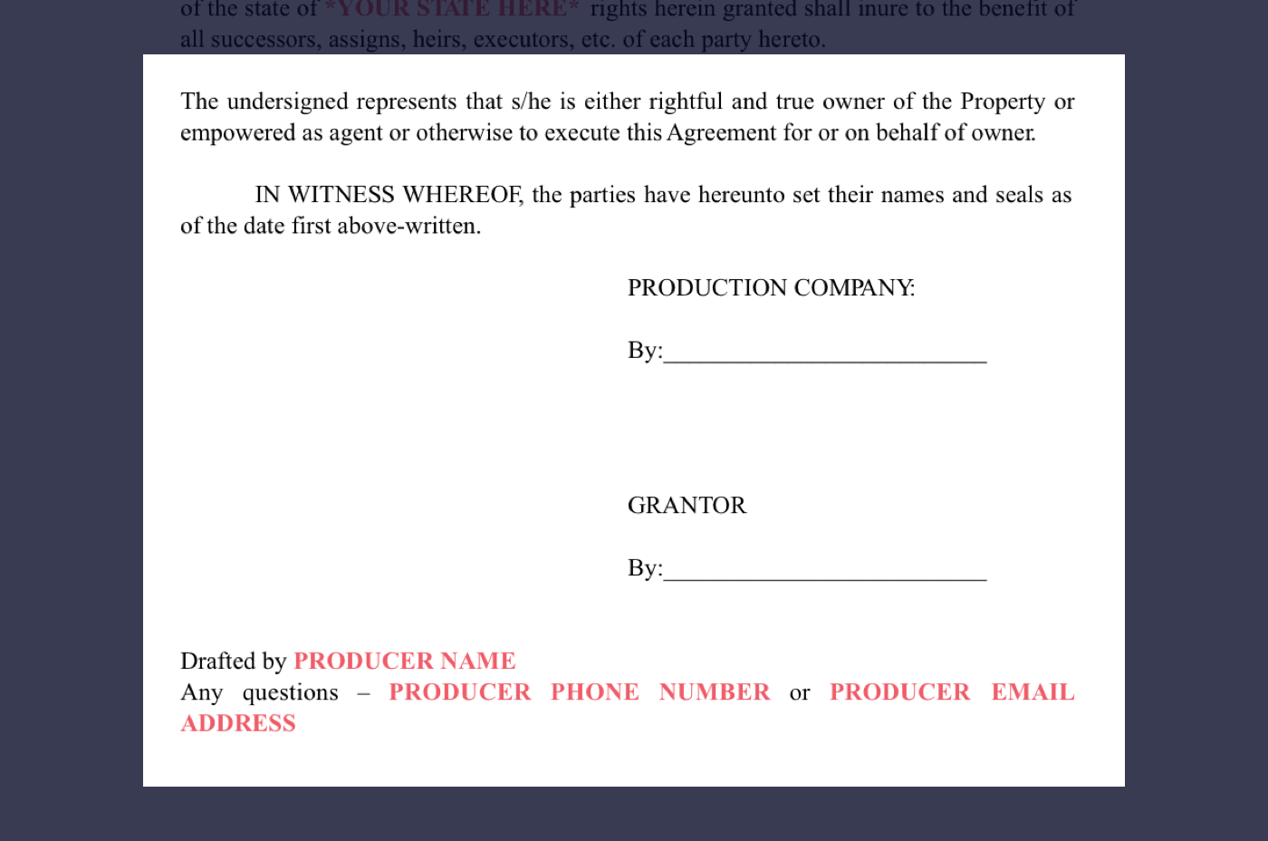 How to secure film locations free location release form 8 film location release form excerpt producers signatures falaconquin