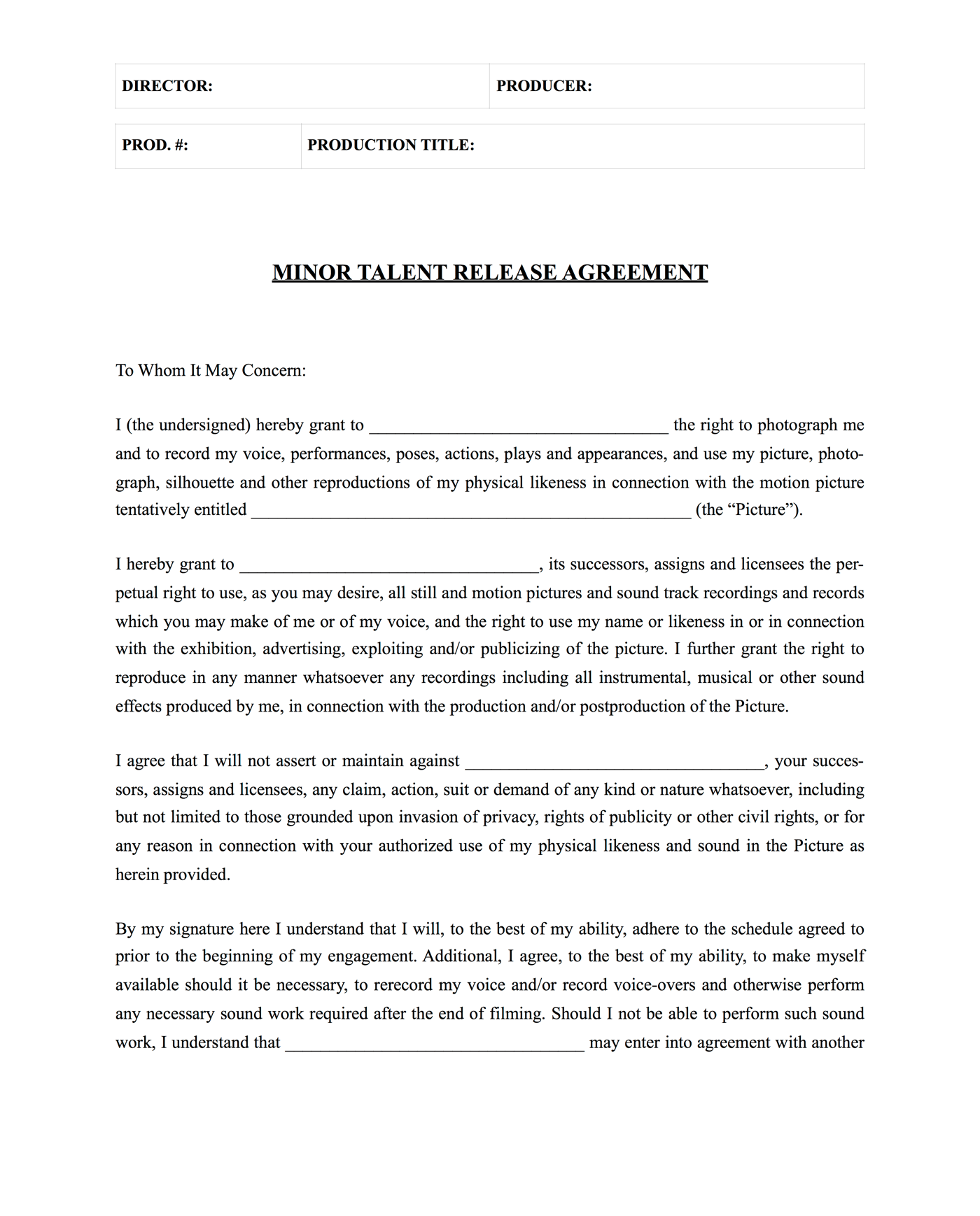 Actor Release Form For Minors   Front   StudioBinder