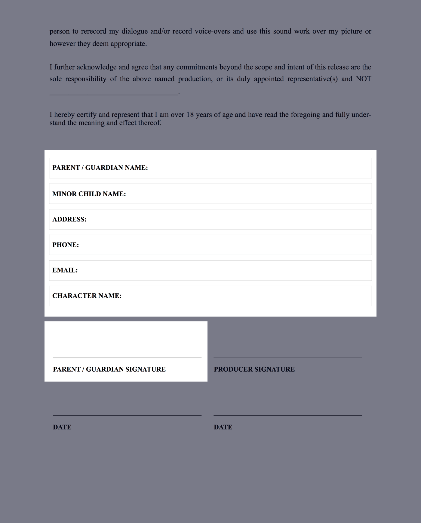 Actor Release Form for Minors - Page 2 - StudioBinder