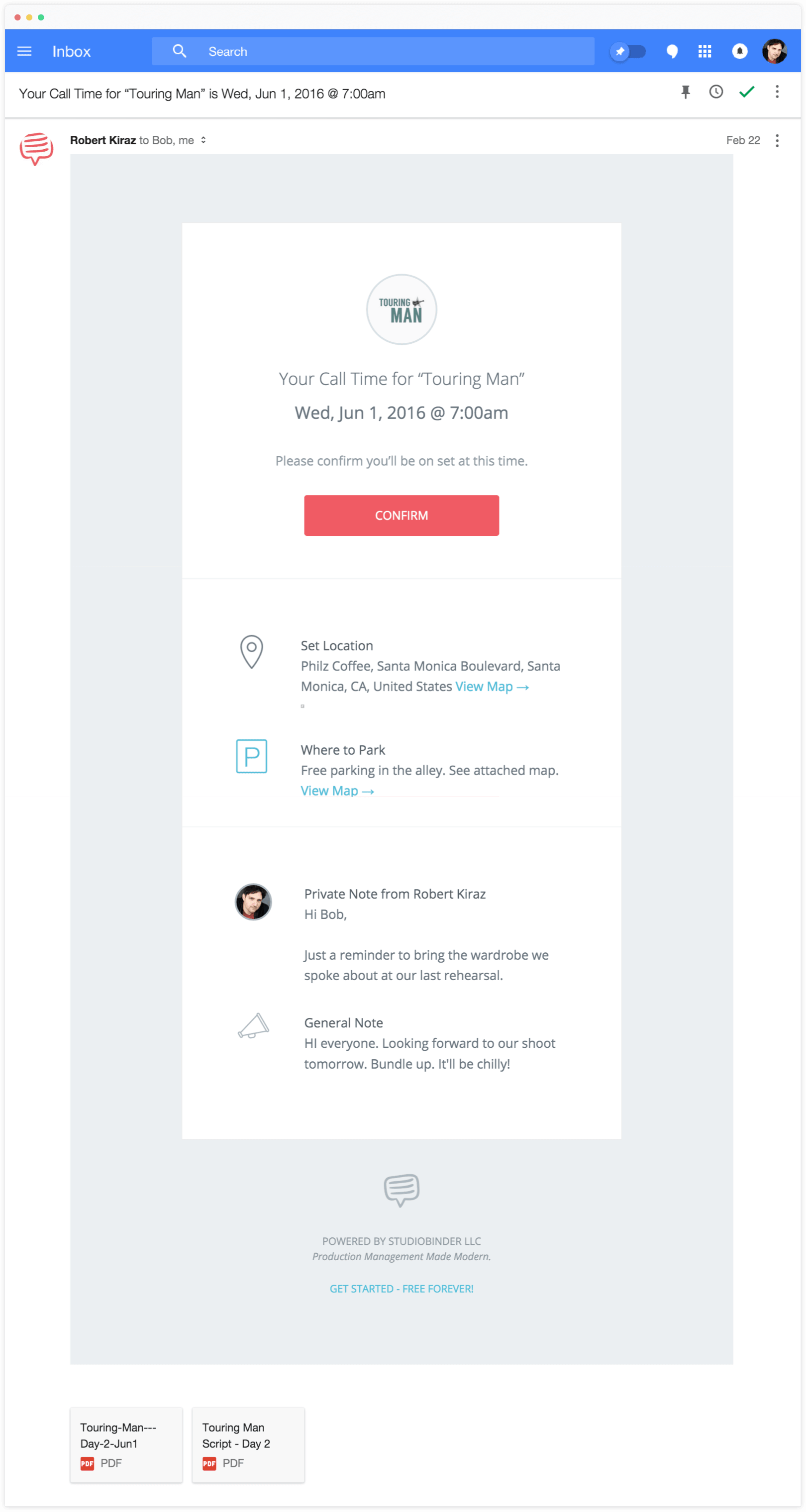 Call Sheet Template in Email Form - StudioBinder