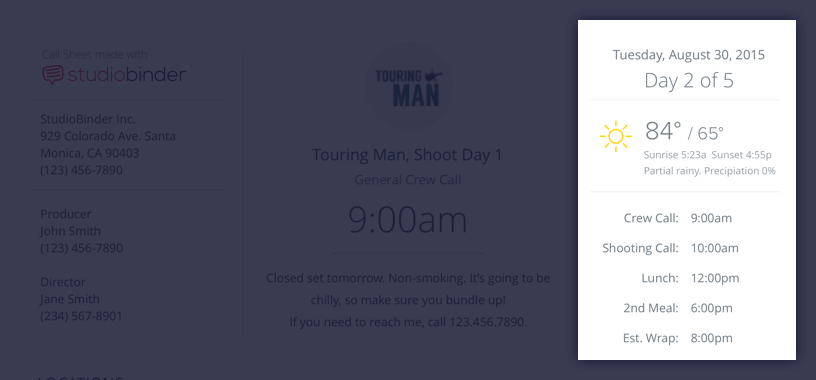 Create a Better Call Sheet with Free Call Sheet Template - Day of Days - Weather - Schedule - StudioBinder