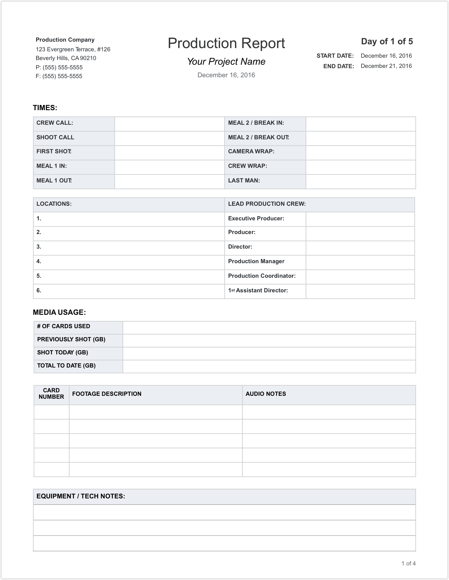 Daily Production Report Template - Page 1 - StudioBinder