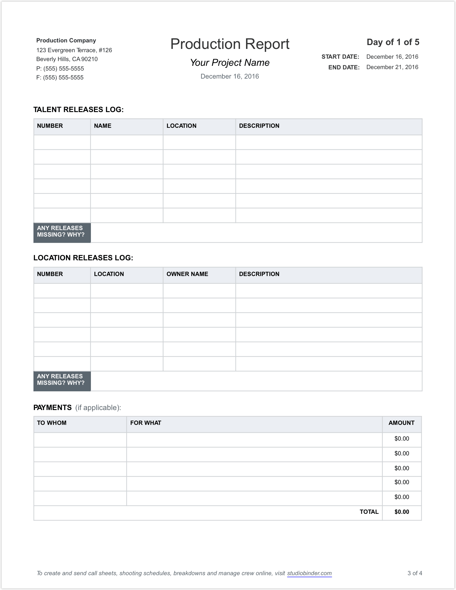 daily production report template page 3 studiobinder