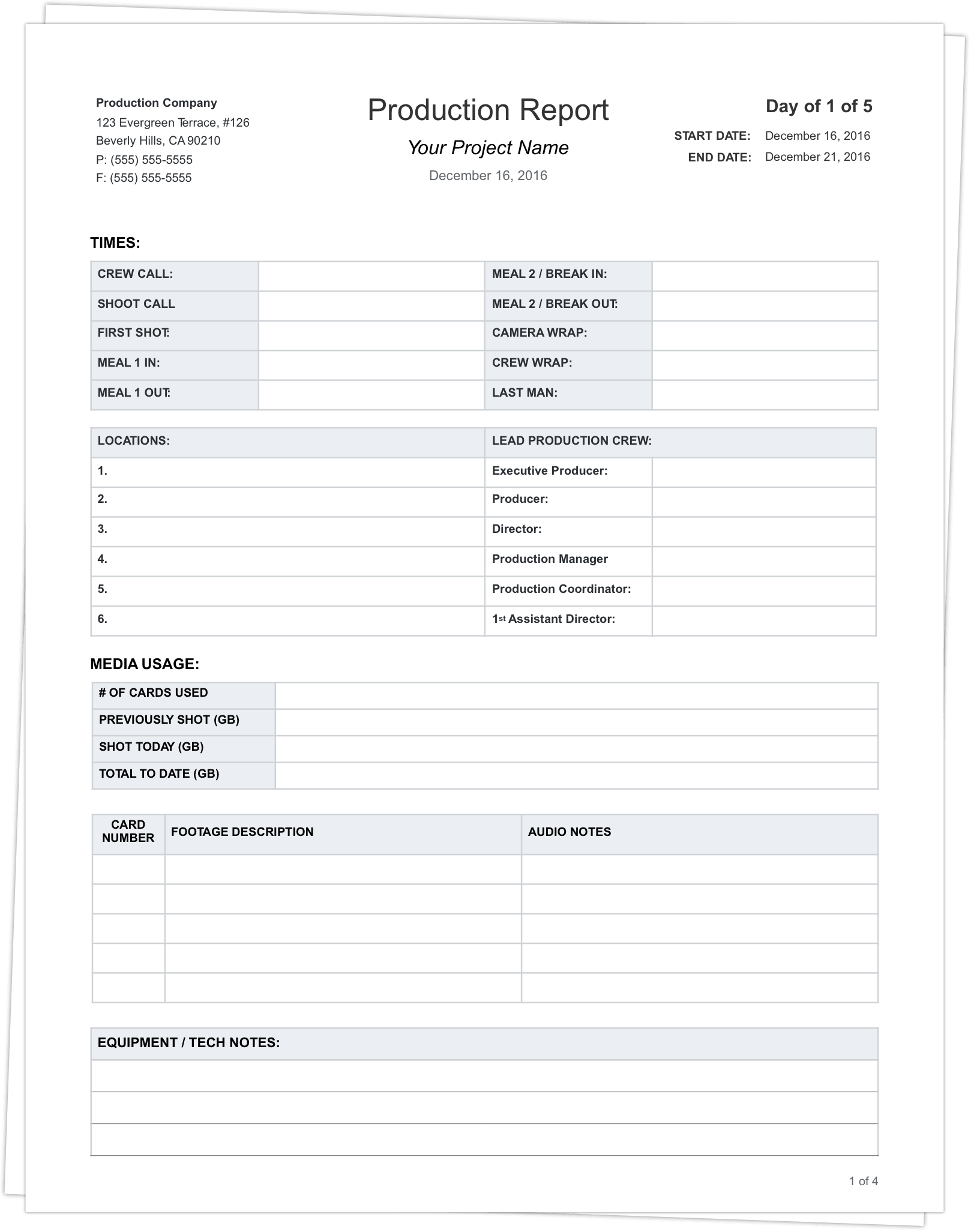 Daily Production Report Template - Stack - StudioBinder