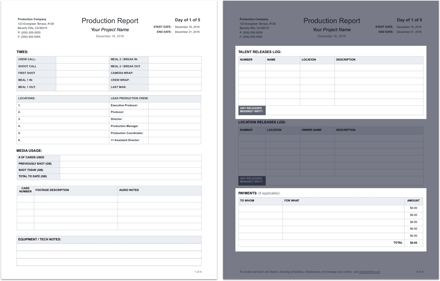 Daily Production Report Template   Tear Sheet   StudioBinder  Business Reporting Templates