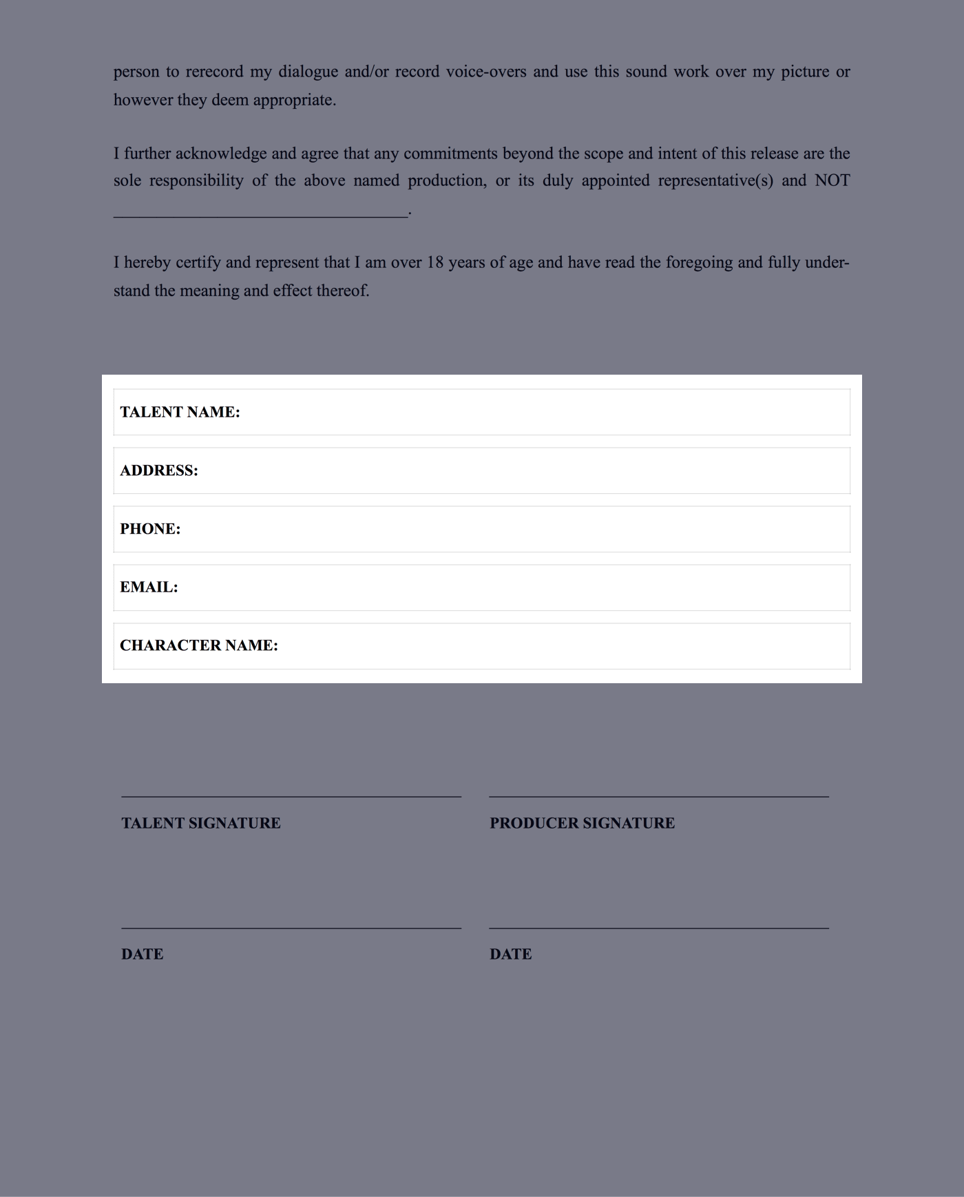 Film Actor Release Form Template - Fill in Variable Fields - StudioBinder