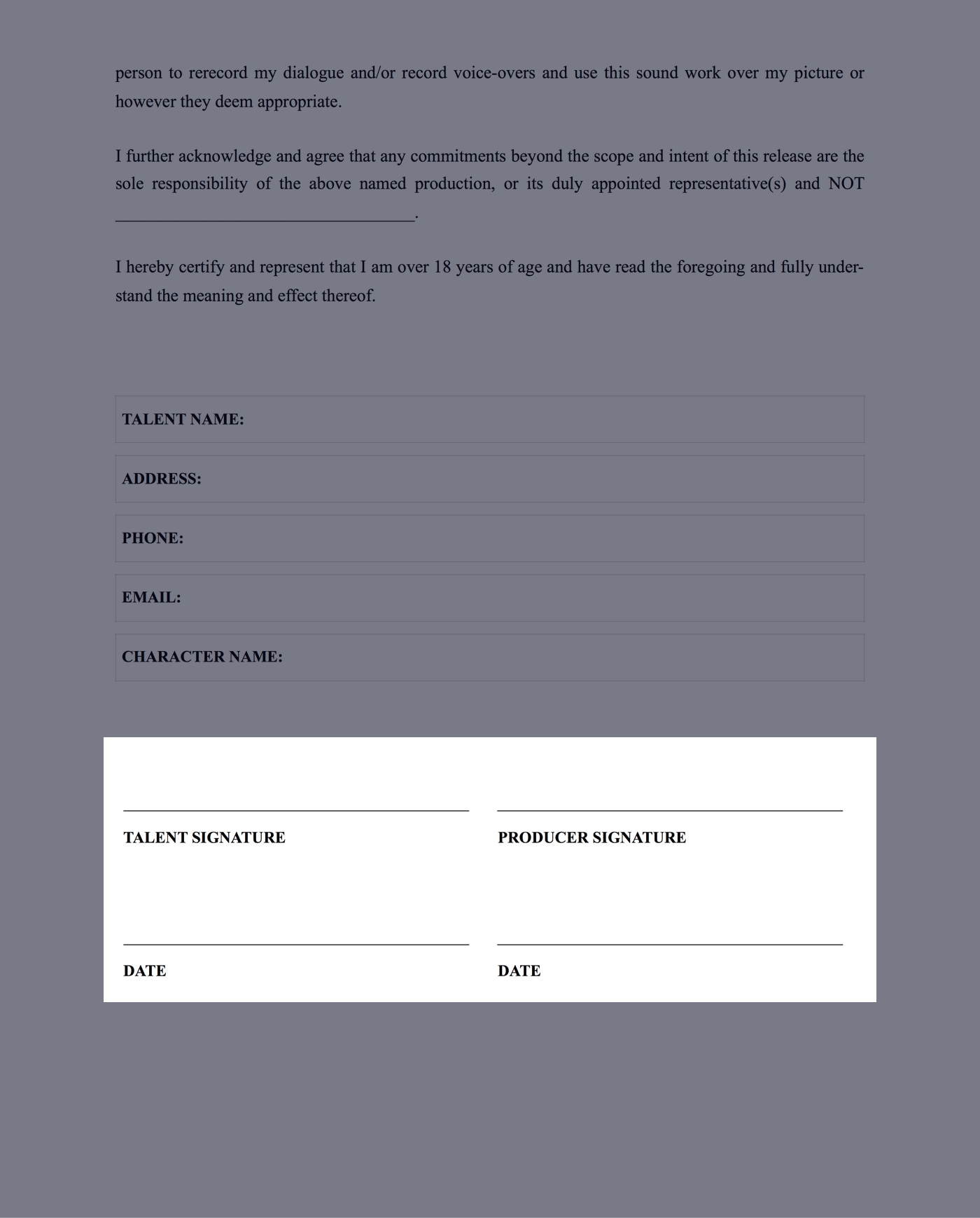 download free actor release form template