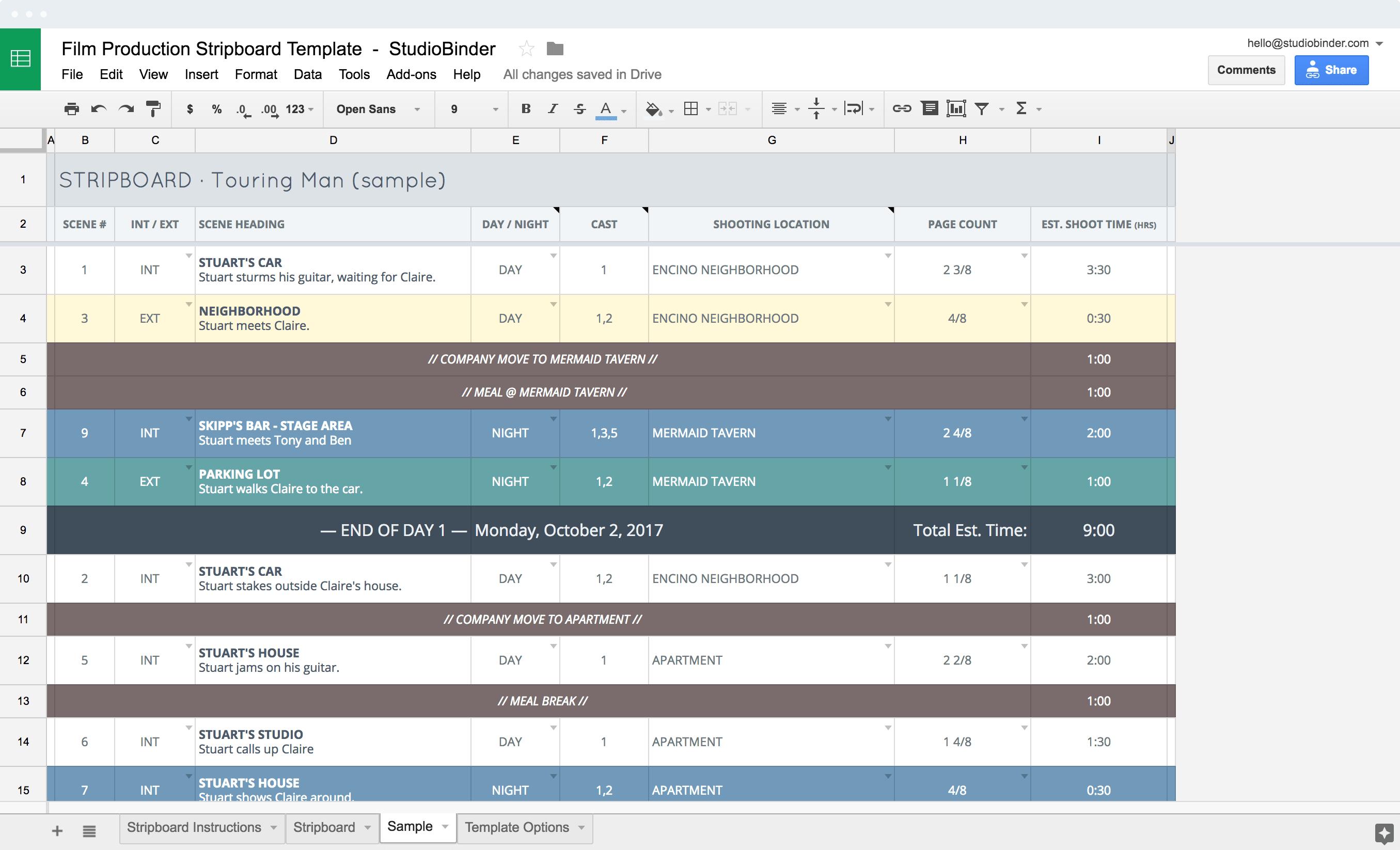 Film Production Shooting Schedule Template - Stripboard Example - StudioBinder-min