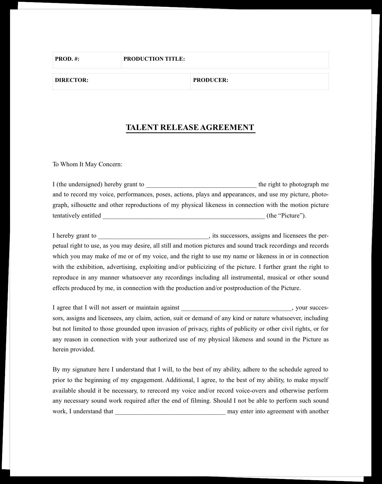 Free Film Actor Release Form Template - StudioBinder