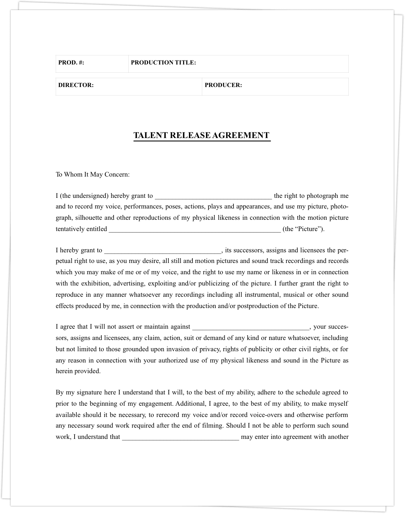 acting contract template the complete guide to actor release forms free template