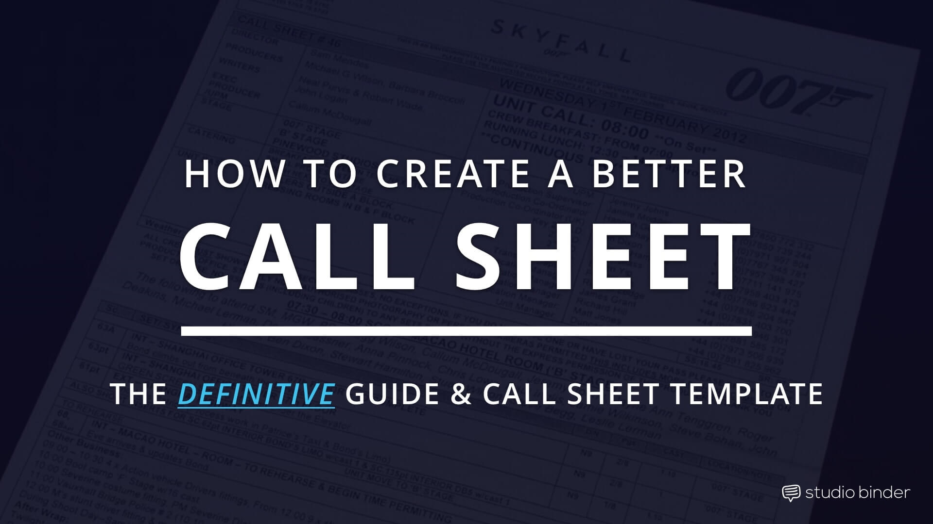 How to Create a Better Call Sheet - The Definitive Call Sheet Guide and Call Sheet Template - StudioBinder